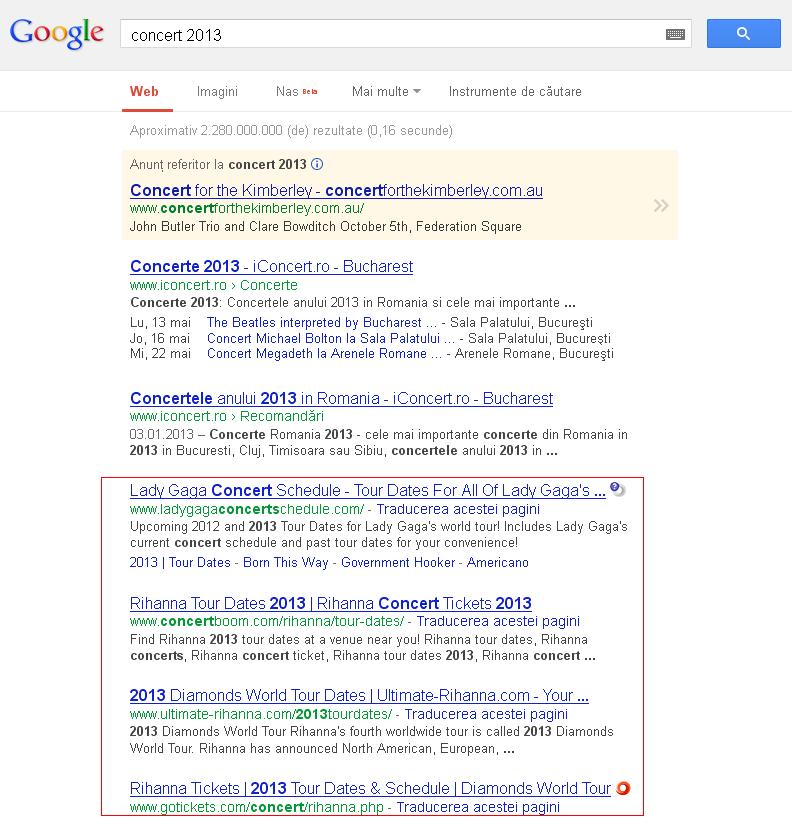Google SERP 1 aprilie