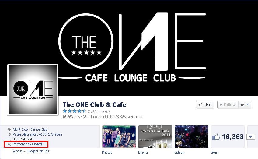 Club the One Oradea s-a inchis