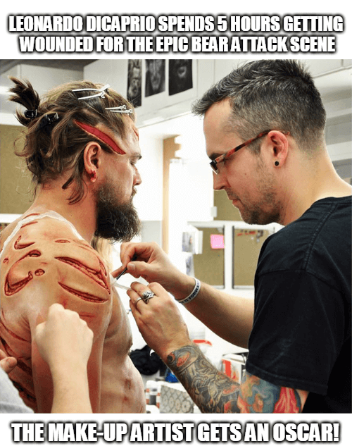 Leonardo DiCaprio spends 5 hours getting wounded for the bear attack scene in The Revenant