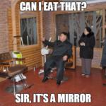 Kim Jong Un eating mirror